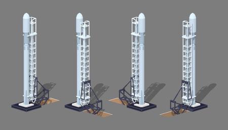 cohete espacial moderna en la plataforma de lanzamiento. 3D bajo poli ilustración isométrica. El conjunto de objetos aislados sobre el fondo gris y muestra desde diferentes lados