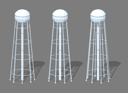 Water tower. 3D low poly isometric illustration. The set of objects isolated against the grey background and shown from different sides Vectores
