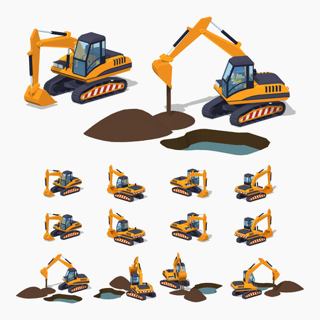 digger: Yellow excavator. Special machinery. 3D lowpoly isometric vector illustration. The set of objects isolated against the white background and shown from different sides Illustration