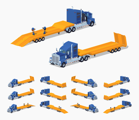 heavy set: Blue heavy truck with yellow low-bed trailer. 3D lowpoly isometric vector illustration. The set of objects isolated against the white background and shown from different sides Illustration
