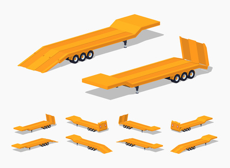 low floor: Yellow low-bed trailer. 3D lowpoly isometric vector illustration. The set of objects isolated against the white background and shown from different sides