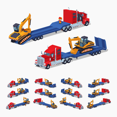 sides: Red heavy truck with yellow excavator on the blue low-bed trailer. 3D lowpoly isometric vector illustration. The set of objects isolated against the white background and shown from different sides