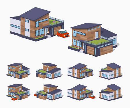 patio deck: Contemporary american house. 3D lowpoly isometric vector illustration. The set of objects isolated against the white background and shown from different sides Illustration