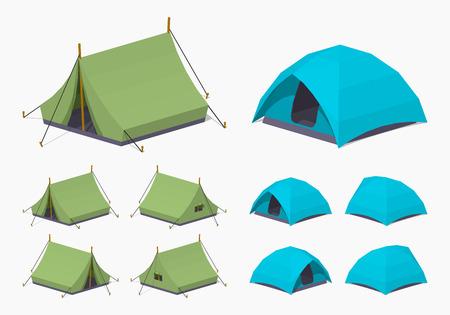 캠핑 텐트. 3D lowpoly 아이소 메트릭 벡터 일러스트 레이 션입니다. 개체의 집합은 흰색 배경에 대해 격리와 다른 측면에서 표시