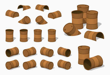 iron fun: Old rusty barrels. 3D lowpoly isometric vector illustration. The set of objects isolated against the white background and shown from different sides