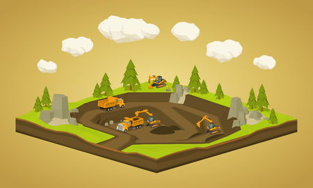 Quarry. Dig site. 3D lowpoly isometric vector concept illustration suitable for advertising and promotion