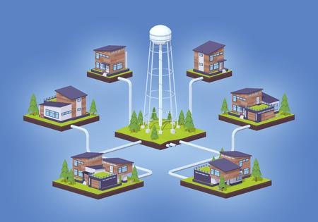 적합: 물 공급 infographics입니다. 광고 및 홍보에 적합한 3D lowpoly 아이소 메트릭 벡터 개념 그림