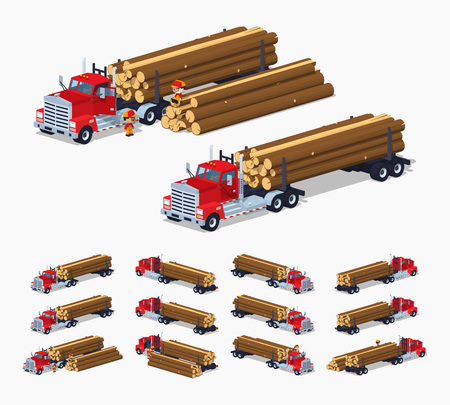 logging: Log truck with the pile of logs. 3D lowpoly isometric vector illustration. The set of objects isolated against the white background and shown from different sides
