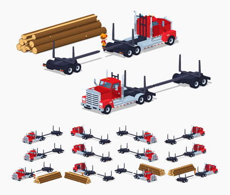 logging: Empty log truck. 3D lowpoly isometric vector illustration. The set of objects isolated against the white background and shown from different sides