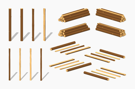 Piles of logs. 3D lowpoly isometric vector illustration. The set of objects isolated against the white background and shown from different sides