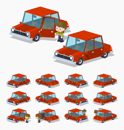 Old red sedan. 3D lowpoly isometric vector illustration. The set of objects isolated against the white background and shown from different sides