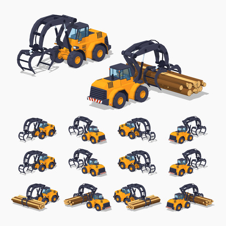 hauling tractor: Yellow log loader. 3D lowpoly isometric vector illustration. The set of objects isolated against the white background and shown from different sides