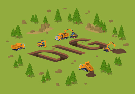 The trenches in the form of the word Dig. 3D lowpoly isometric vector concept illustration suitable for advertising and promotion