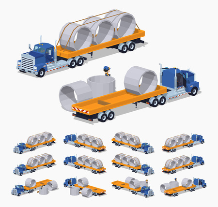 heavy set: Blue heavy truck and yellow trailer with concrete rings on it. 3D lowpoly isometric vector illustration. The set of objects isolated against the white background and shown from different sides Illustration