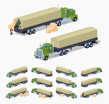 tarpaulin: Green heavy truck and trailer with the tarpaulin tent. 3D lowpoly isometric vector illustration. The set of objects isolated against the white background and shown from different sides