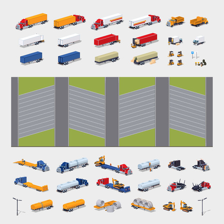 parked: Heavy trucks parking lot constructor. Build your own design