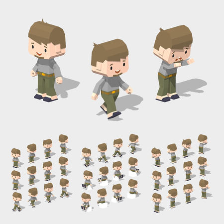 topknot: Low poly white man, with brown hair, beard, gray t-shirt, green cargo pants and black slippers. 3D lowpoly isometric vector illustration. The set of objects isolated against the white background and shown from different sides Illustration