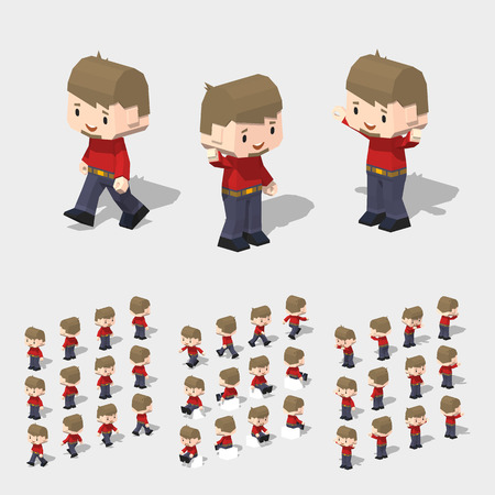 Low poly white man, with brown hair, beard, red t-shirt, dark-blue pants and black shoes. 3D lowpoly isometric vector illustration. The set of objects isolated against the white background and shown from different sides Vectores
