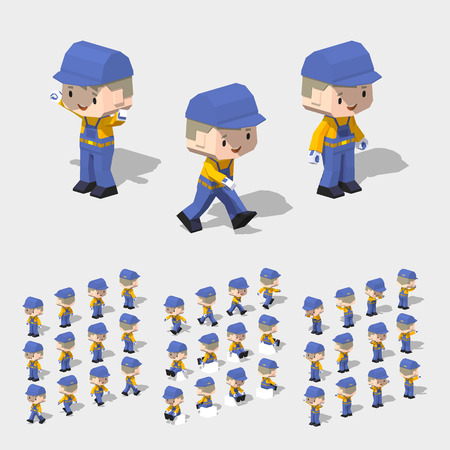 jumpsuit: Low poly worker with blond hair, in the blue jumpsuit, yellow shirt and black shoes. 3D lowpoly isometric vector illustration. The set of objects isolated against the white background and shown from different sides Illustration