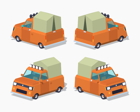 low tire: Orange pickup with tent. 3D lowpoly isometric vector illustration. The set of objects isolated against the white background and shown from different sides Illustration