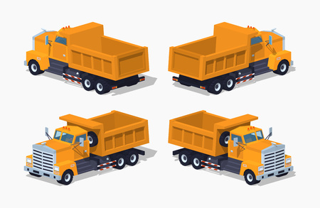 Empty orange dumper. 3D lowpoly isometric vector illustration. The set of objects isolated against the white background and shown from different sides