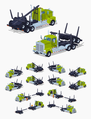 logging: Folded log truck. 3D lowpoly isometric vector illustration. The set of objects isolated against the white background and shown from different sides Illustration