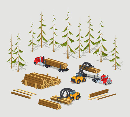 lumber: Lumber stock. Logs loading on trucks. 3D lowpoly isometric vector concept illustration suitable for advertising and promotion