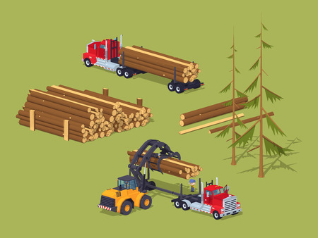 Lumber stock. Logs loading on trucks. 3D lowpoly isometric vector concept illustration suitable for advertising and promotion