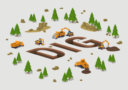 mine site: The trenches in the form of the word Dig. 3D lowpoly isometric vector concept illustration suitable for advertising and promotion