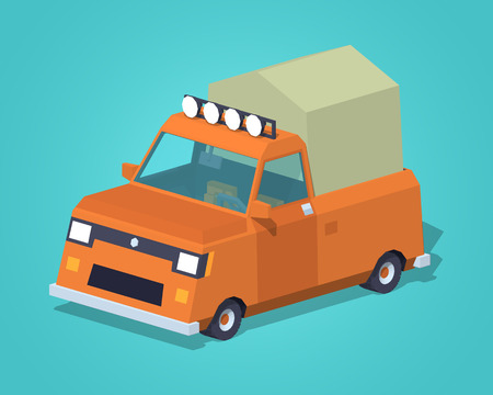 low tire: Orange pickup with tent against the green background. 3D lowpoly isometric vector illustration Illustration