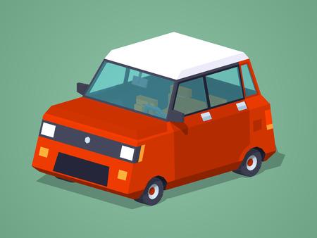 hatchback: Modern red hatchback against the green background. 3D lowpoly isometric vector illustration Illustration