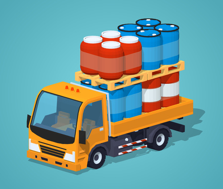 car speed: Orange truck loaded with barrels against the green background. 3D lowpoly isometric vector illustration