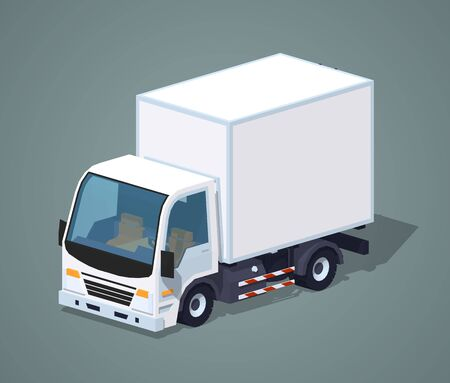 White cargo truck against the grey background. 3D lowpoly isometric vector illustration