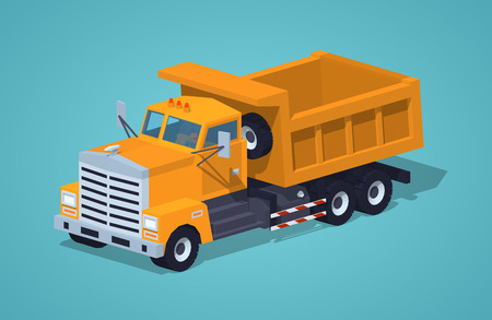 dumper: Empty orange dumper against the green background. 3D lowpoly isometric vector illustration