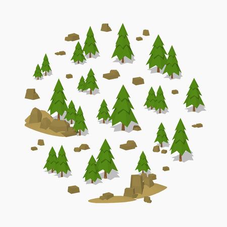 소나무 숲입니다. 광고 및 홍보에 적합한 3D lowpoly 아이소 메트릭 벡터 개념 그림