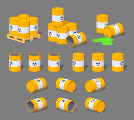 Metal barrels with the nuclear waste. 3D lowpoly isometric vector illustration. The set of objects isolated against the grey background and shown from different sides
