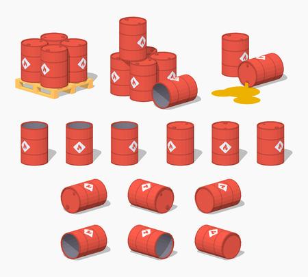 barrels set: Red metal barrels with the fuel. 3D lowpoly isometric vector illustration. The set of objects isolated against the white background and shown from different sides