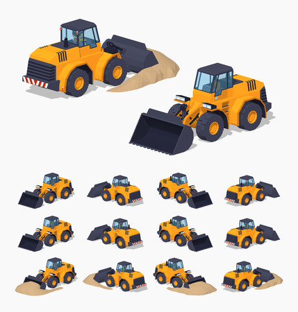 digger: Yellow heavy bulldozer. 3D lowpoly isometric vector illustration. The set of objects isolated against the white background and shown from different sides