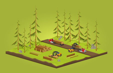 logging: Lumber stock. Logs loading on trucks. 3D lowpoly isometric vector concept illustration suitable for advertising and promotion