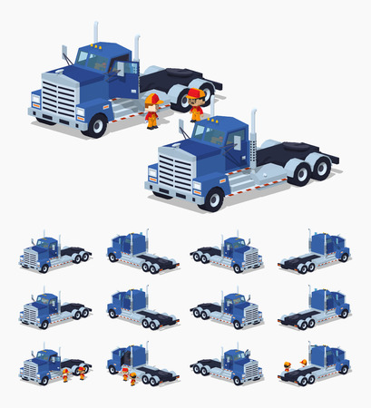 heavy set: Blue heavy truck. 3D lowpoly isometric vector illustration. The set of objects isolated against the white background and shown from different sides