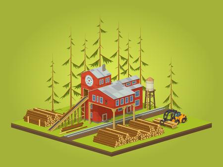 Houtzagerij. Zagerij gebouw. 3D lowpoly isometrische vector concept illustratie geschikt voor reclame en promotie
