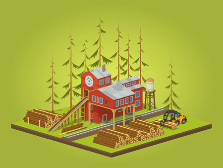 Lumber mill. Sawmill building. 3D lowpoly isometric vector concept illustration suitable for advertising and promotion
