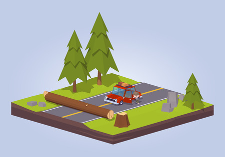 cartoon land: Old tree crashed on the road. 3D lowpoly isometric vector concept illustration suitable for advertising and promotion