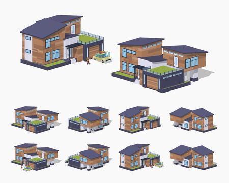Maison contemporaine américaine. isométrique illustration vectorielle 3D. L'ensemble des objets isolés sur le fond blanc et montré de différents côtés