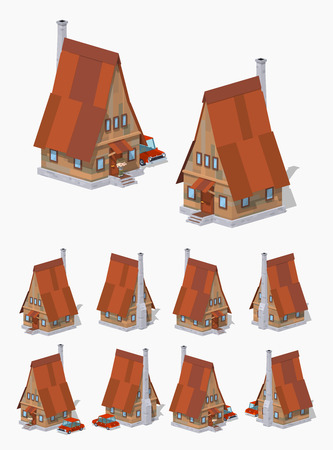 cartoon window: A-Frame wooden house. 3D lowpoly isometric vector illustration. The set of objects isolated against the white background and shown from different sides