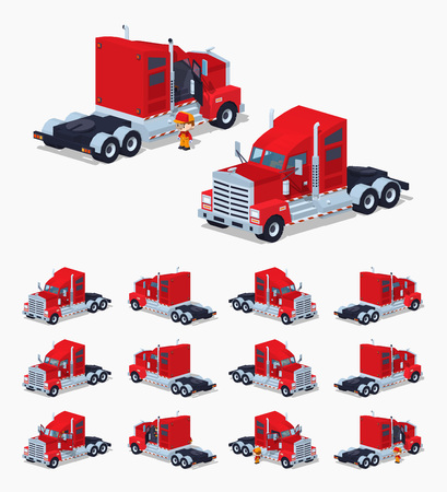 trucker: Red heavy american truck. 3D lowpoly isometric vector illustration. The set of objects isolated against the white background and shown from different sides