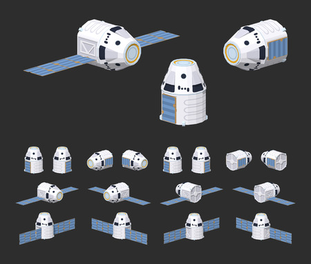 x games: Modern reusable spaceship. 3D lowpoly isometric vector illustration. The set of objects isolated against the black background and shown from different sides Illustration