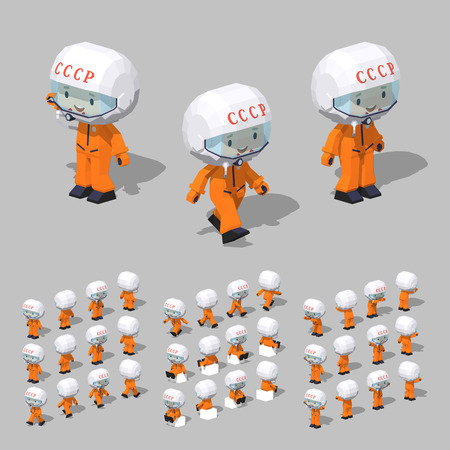 Soviet cosmonaut in the white helmet and the orange flight suit. 3D lowpoly isometric vector illustration.