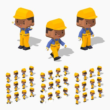 jumpsuit: Low poly worker with dark hair, black skin, in the yellow jumpsuit, blue shirt, black shoes and yellow cap. Illustration
