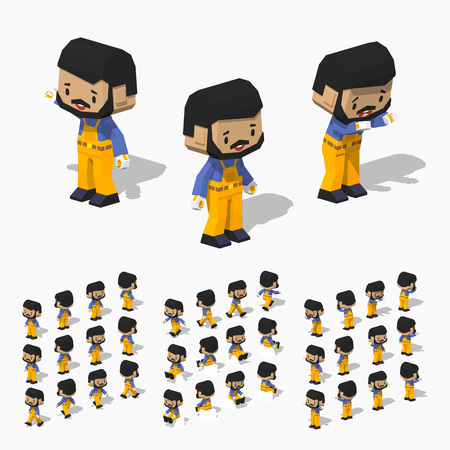 blue shirt: Low poly worker with black hair and beard, dark skin, in the yellow jumpsuit, blue shirt and black shoes.